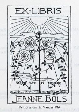 Ex libris by A. van der Elst for Jeanne Bols