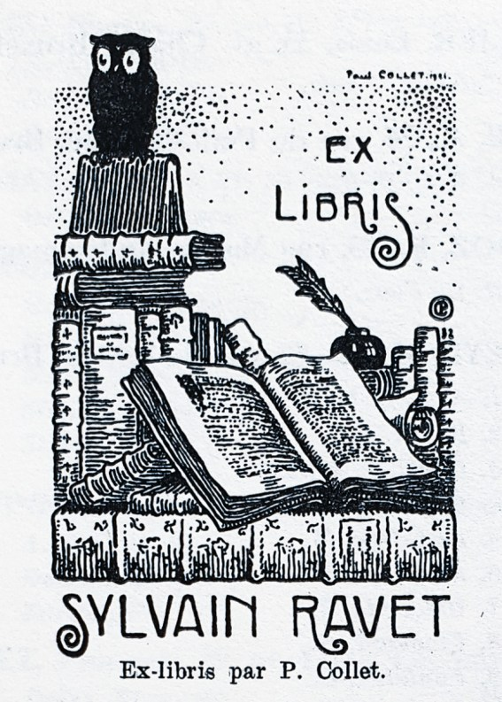 Ex libris by Paul Collet for Sylvain Ravet