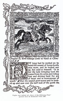 Page with initial from 'Story of the Glittering Plain', printed by the Kelmscott Press in 1894