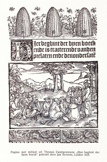 Page with initial from Thomas Cantipratensis 'Here beghint der byen boeck' printed by Jan Seversz, Leiden, 1515