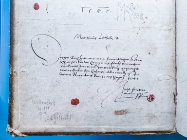 Signature of Martin Luther in a 1545 Bible