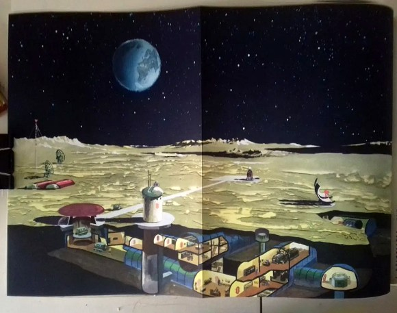 """""""Research Station on the Moon, what it might look like after some of spaceflight's future projects."""" from the book """"Weltall Erde Mensch""""; Heinz Mielke and others; 1968, Berlin, GDR"""