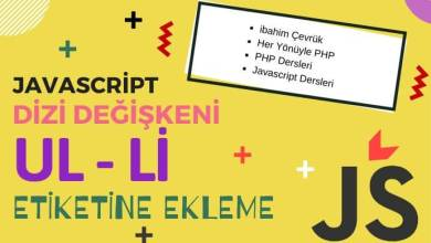 Photo of Javascript İle HTML (Ul – Li) Listeleme
