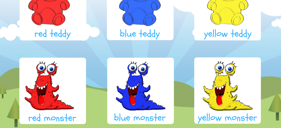 red, blue, yellow teddy and monster