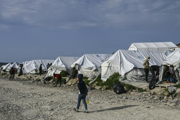 Work on a new permanent Lesbos camp is expected to start in the summer, though officials did not give a completion date