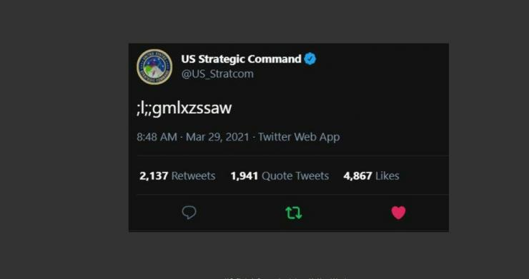 The tweet sent by the US Strategic Command on March 29, 2021
