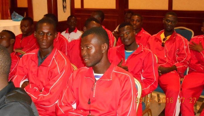 Les joueurs de l'USO présents à la cérémonie