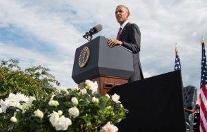Le président Barack Obama, prononçant son discours au Pentagone le 11 septembre 2016