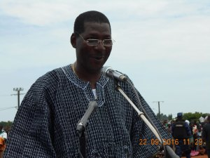 Le président du groupe parlementaire du MPP, le député Alassane Bala Sakandé lors de son discours à la place publique de Léo