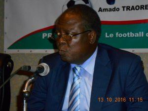 M. Amado Traoré, lors de la conférence de presse pour le lancement officiel de sa candidature à la FBF
