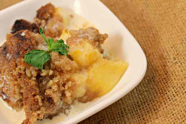 Peach Crisp with Maple Cream Sauce