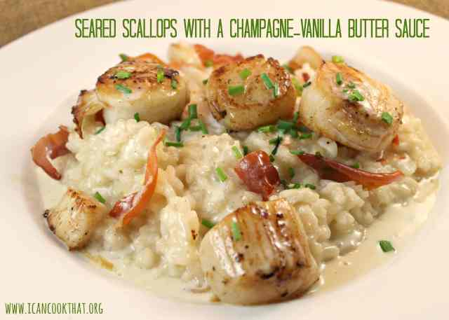 Seared Scallops with a Champagne-Vanilla Butter Sauce