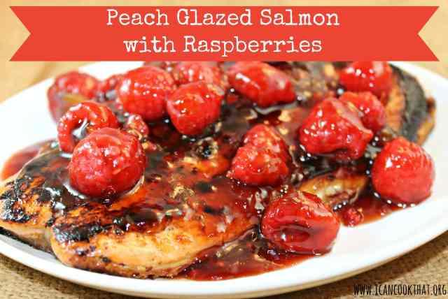 Peach-Glazed Salmon with Raspberries