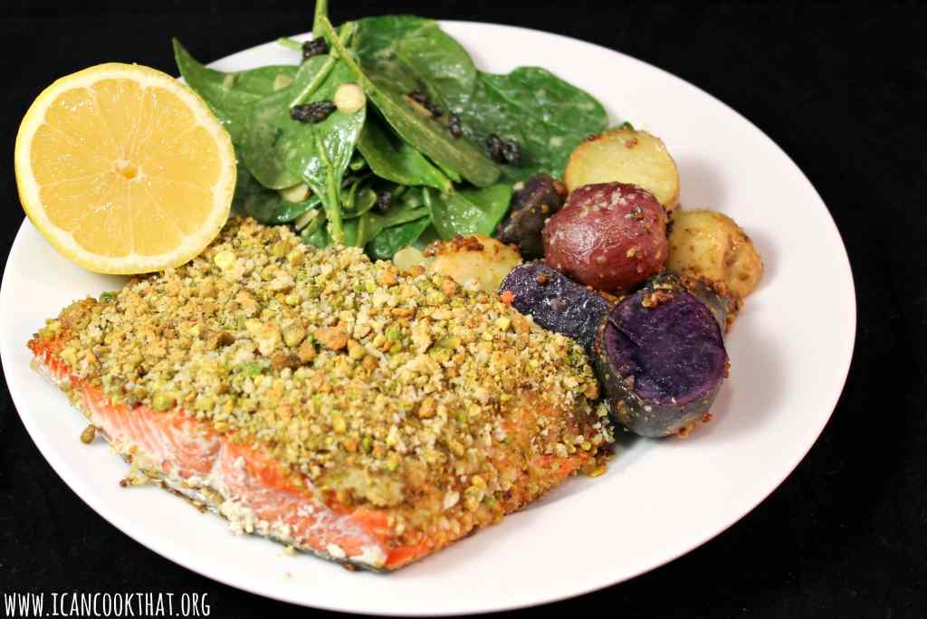 Pistachio Crusted Salmon with Roasted Mustard Potatoes