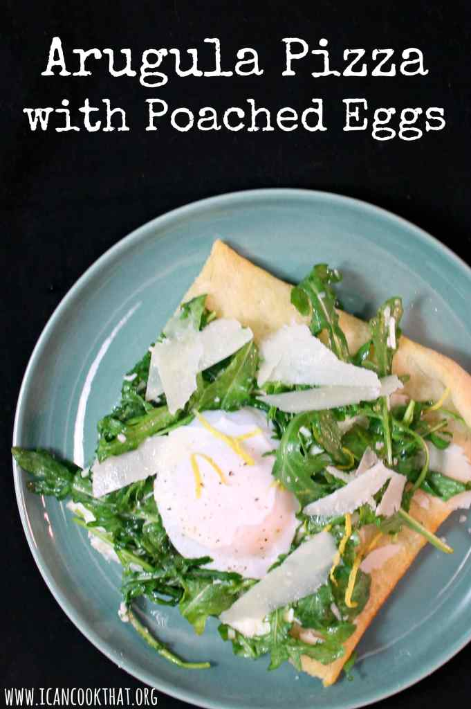Arugula Pizza with Poached Eggs