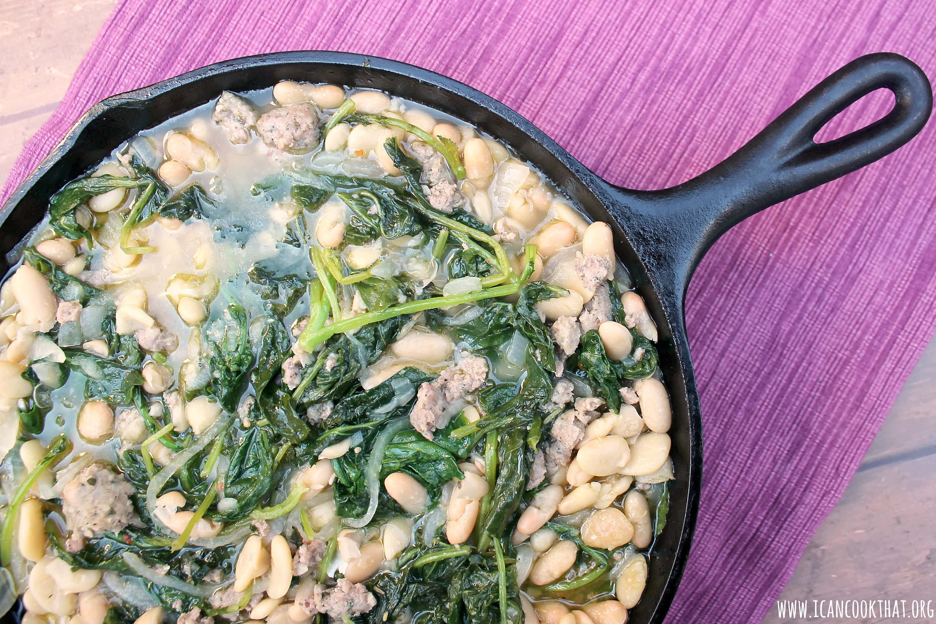 Skillet Sausage, White Bean, and Kale Stew
