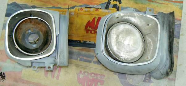 Both original front headlight assemblies