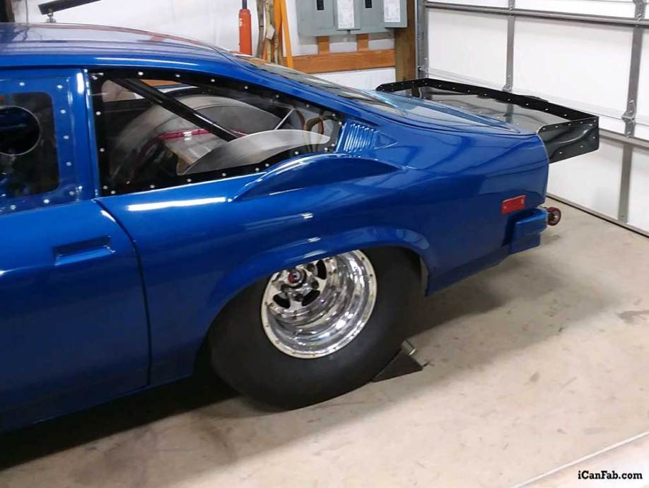 custom sheet metal fabrication on this Vega drag car
