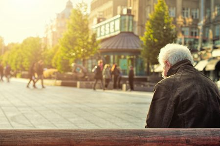 Lonely man on a bench