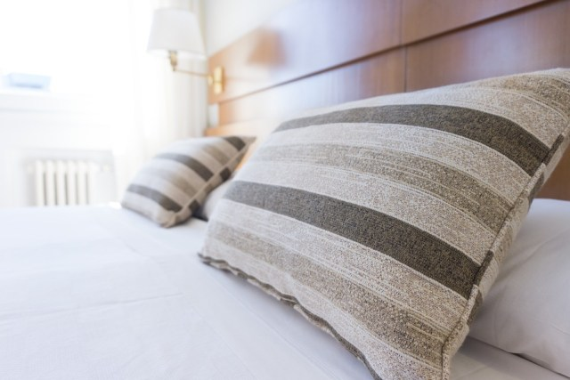 stripped bed pillows