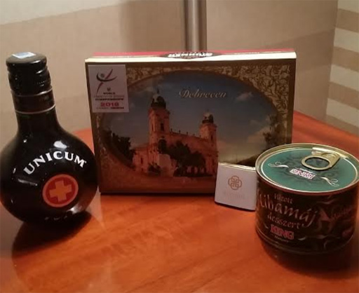 Most unique competitor gifts we've ever received -- goose liver pate and the Hungarian national beverage Unicum, an herbal aperitif.