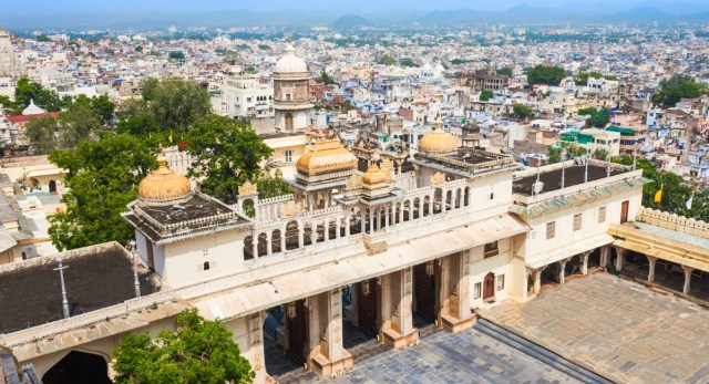 Udaipur City Palace in Rajasthan, India