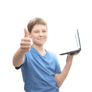 boy with laptop thumbs up shutterstock_260916683