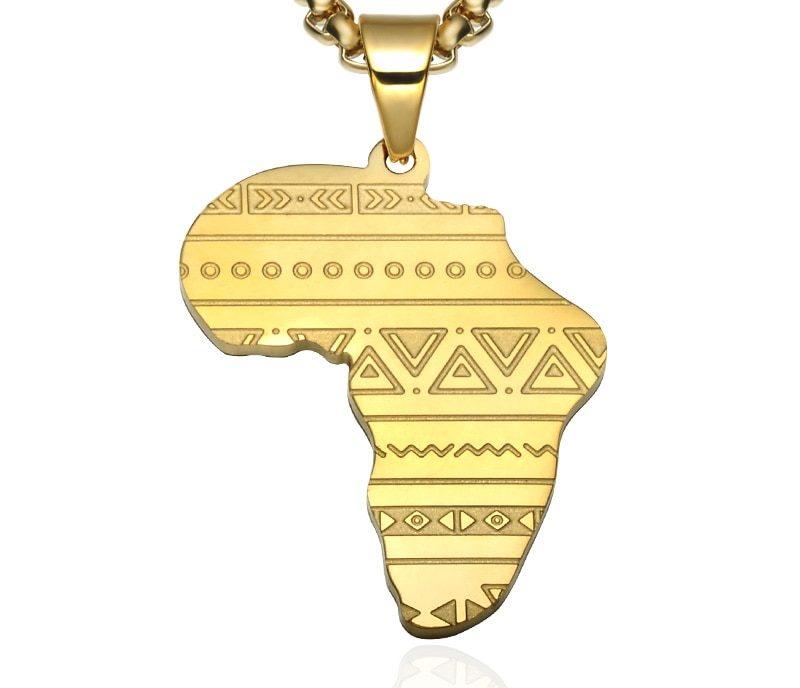 Wonderlijk Gouden/Zilveren ketting(60cm) incl. Afrikaanse continent Hanger VF-14