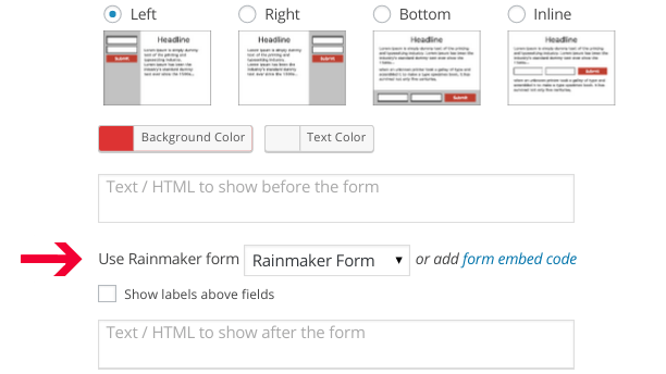 Select Rainmaker Form in the Campaign Editing Panel of Icegram