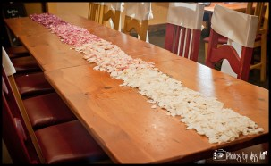 iceland-wedding-reception-setup-ideas-rose-petal-table-runner-ombre-fade-to-pink