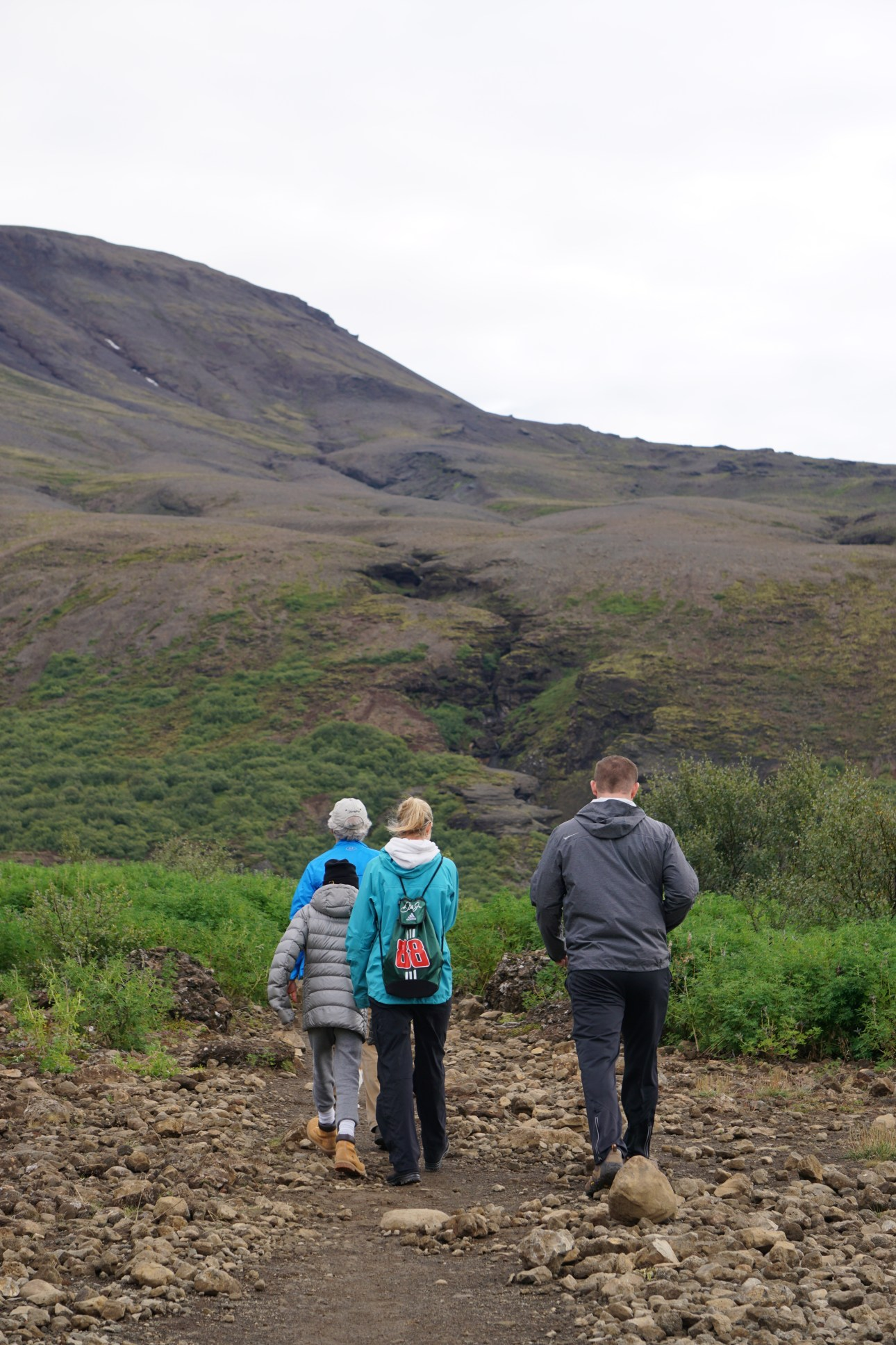 The hiking path to Glymur Waterfall in West Iceland