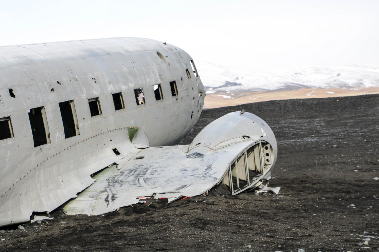 You are able to walk around and in the plane wreck on Solheimasandur black sand beach in South Iceland | Life With a View