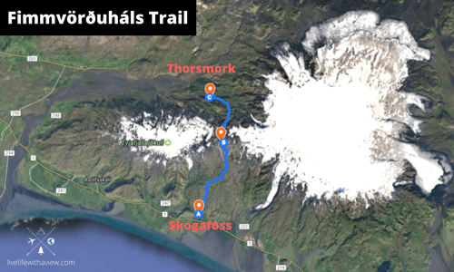 fimmvordurhals trail route hiking Iceland