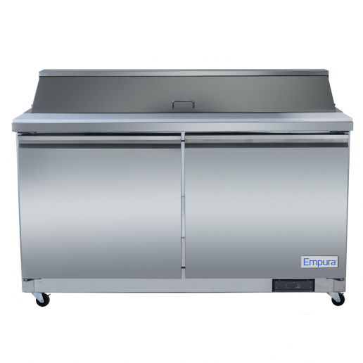 empura e ksp48 48 2 stainless steel sandwich salad table refrigerator with 2 solid doors 12 pans and 11 cutting board 12 cu ft 115 volts