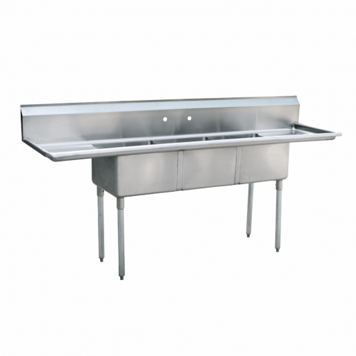 empura emfc 3 1824lr stainless steel 3 compartment commercial sink with 2 drainboards 18 x 24 x 14 bowls