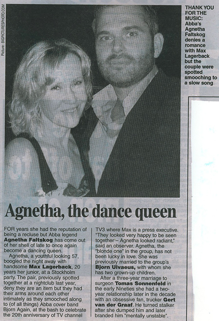 Agnetha pictured in UK press