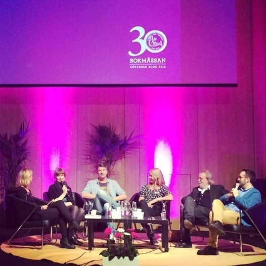 The 'Cirkeln' production team on stage at The Gothenburg Book Fair