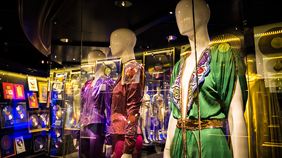 Part of the original costumes display at ABBA The Museum