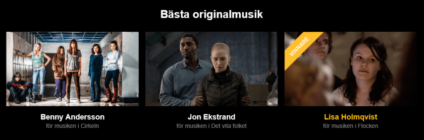 The nominations for Best Original Music. The eventual winner was Lisa Holmqvist.