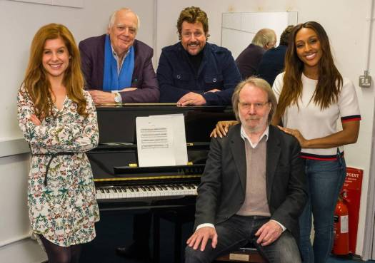 Cassidy Janson, Sir Tim Rice, Michael Ball, Benny Andersson and Alexandra Burke at CHESS rehearsals