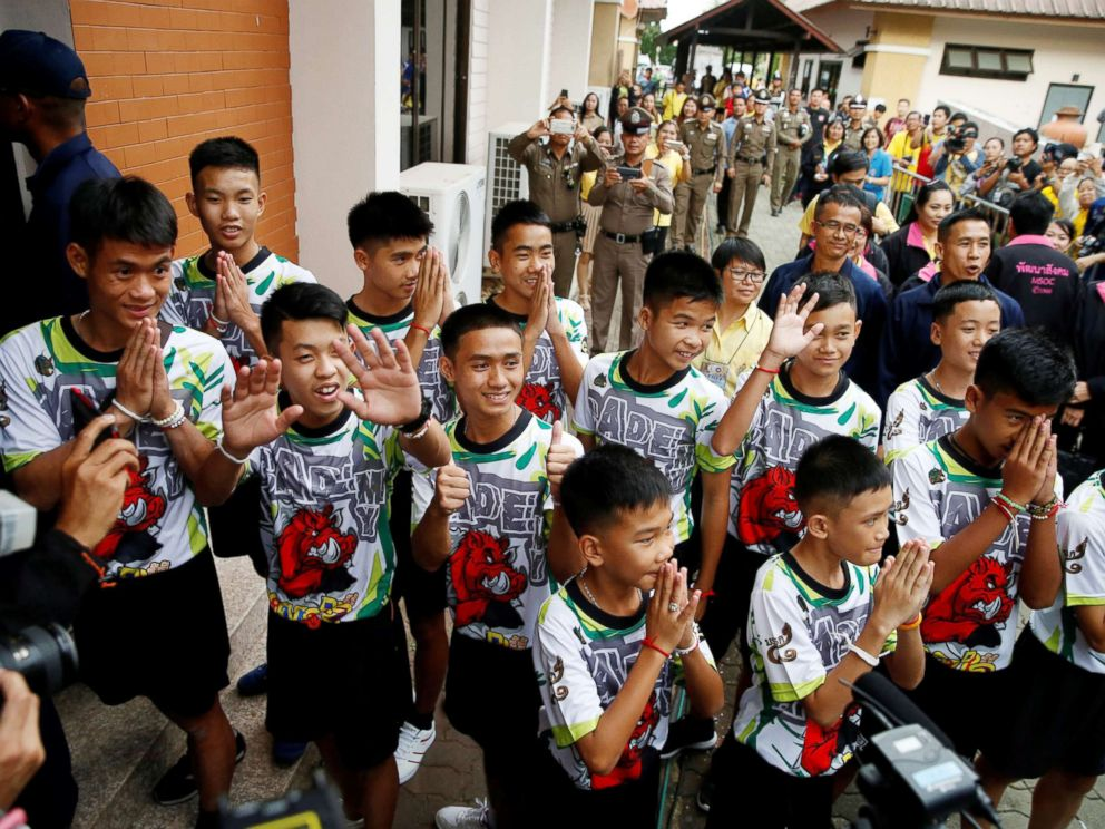 PHOTO: The 12 boys and their soccer coach who were rescued from a flooded cave arrive for a news conference in the northern province of Chiang Rai, Thailand, July 18, 2018.