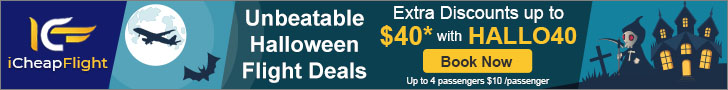 Book Cheap Halloween Flight Deals. Save up to $40** off with promo code – HALLO40. Book Now!