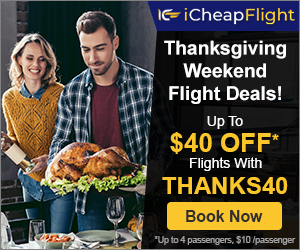 Handpicked Thanksgiving Flight Deals. Save up to $40 with promo code – THANKS40