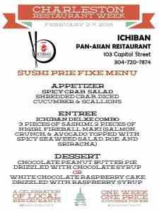 Restaurants Charleston WV - Menu - Ichiban - Restaurant Week