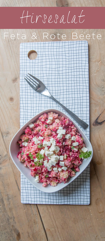 Hirsesalat mit Feta und roter Beete ist ein leichter und besodnerer Salat als Beilage oder Hauptgericht | Ichsowirso.de