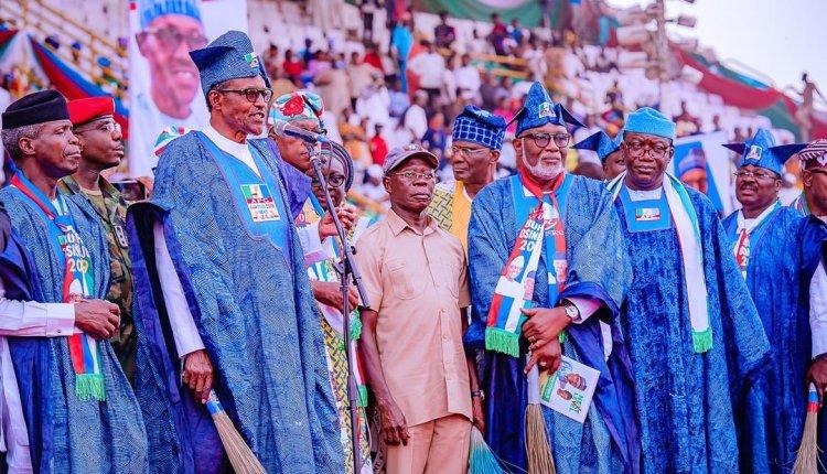 Image result for Oshiomhole, Buhari rally