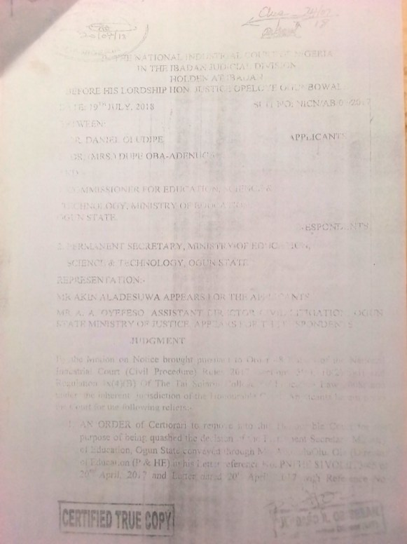 Judgement of the National Industrial Court, Ibadan (1)