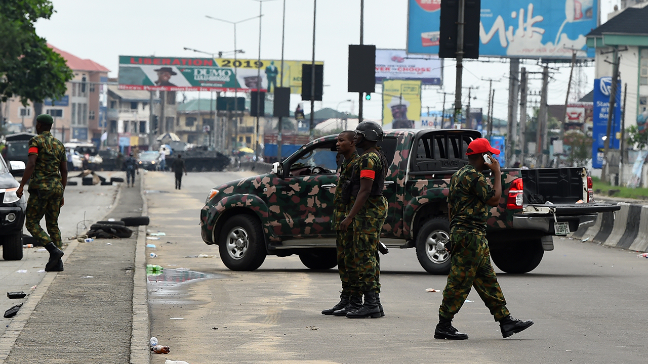 File photo: Soldiers on election duty.