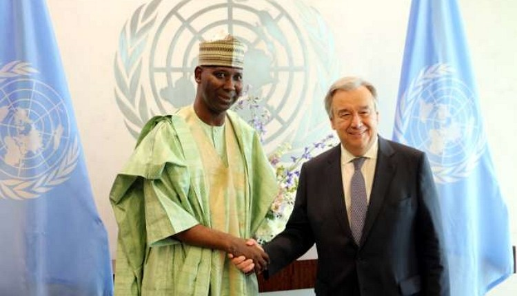 Permanent Representative of Nigeria to the United Nations, Prof. Tijjani Muhammad-Bande with UN Secretary General, António Guterres. Source: Voice of Nigeria