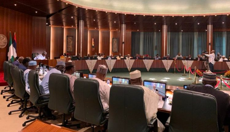 President Buhari receives report from the presidential committee residential Committee on the Impact and Readiness Assessment of the Agreement Establishing the African Continental Free Trade Area (AfCFTA) on Thursday in Abuja. Photo credit: Twitter/@BashirAhmaad.